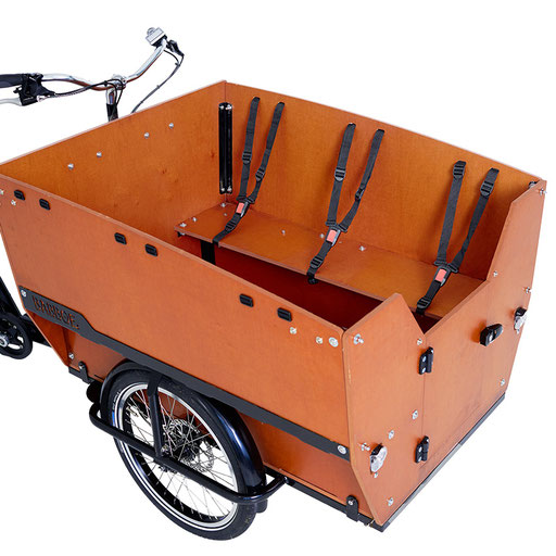 Babboe Lastenfahrrad mit Elektromotor Max-E mit Dreipunktgurten