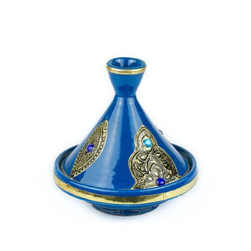 Tajine in blau mit Muster - CASAORIENT Stuttgart