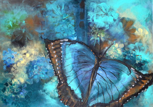 Schmetterling türkis 50x70