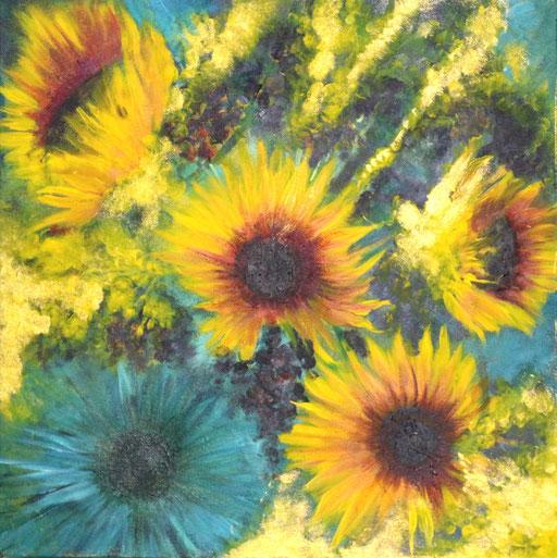 Sonnenblumenfeld 40x40