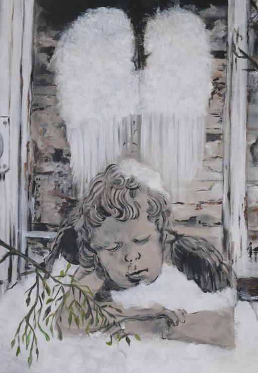 Schlafender Engel im Schnee 72x50