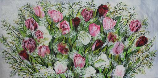 Stilleben Tulpen 50x100