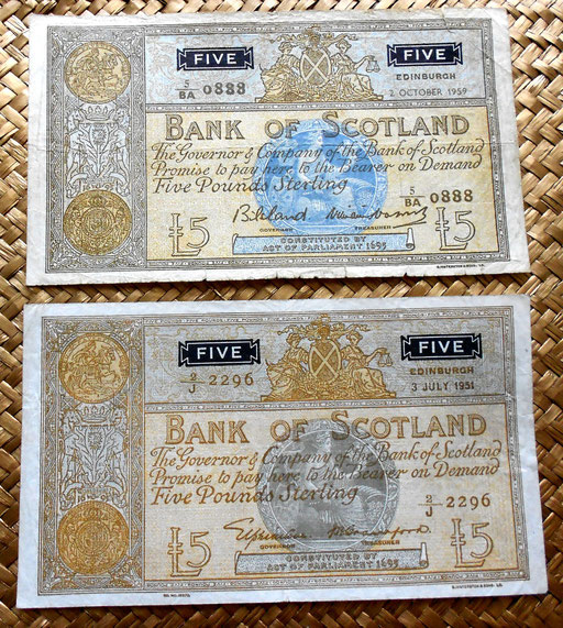 Escocia Bank of Scotland  5 pounds 1959 vs. 5 pounds 1951 anversos