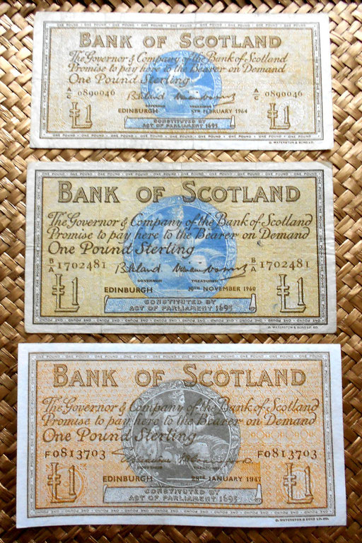 Escocia Bank of Scotland 1 pound 1947 vs. 1 pound 1960 vs. 1 pond 1964 anversos