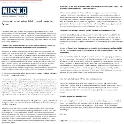 "Rivista ""Musica"", 2017"