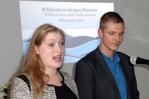 """Heike Schindler und Per Voss sagten """"Willkommen zum Ende unseres Referendariats"""". Foto: Ulrichs"""