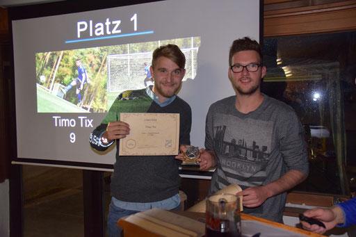 Torschützenkönig der zweiten Mannschaft wurde wieder Jan Neusser. Diesmal musste er sich den Titel mit dem nicht anwesenden Timo Tix teilen. Benedikt Roll nahm den Preis für Tix entgegen.