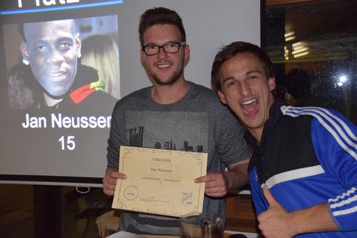 Die meisten Tore, die meisten Vorlagen, somit auch bester Scorer in der 2.Mannschaft: Jan Neusser wurde wieder ausgezeichnet.