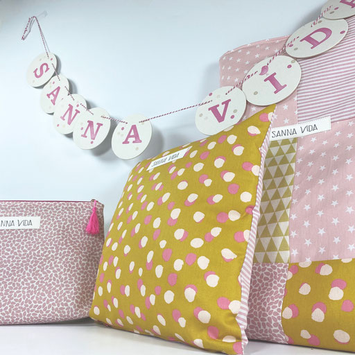 Geburtspaket: Decke, Kissen, Girlande & BabyBag