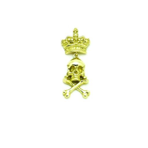 skull king:captain skull Lを作っていた時に、王冠をかぶせたいな…との想いから造りました。クラウン部分だけがピンズで止まるようになっているため、動くたびにドクロが揺れます。