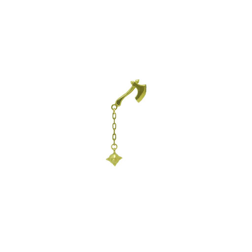 hammer:斧と鎖に繋がった鉄球が付いた、武器をモチーフに制作されたピンズ。帽子に付けると棘の鉄球が揺れて目を魅きつけます。