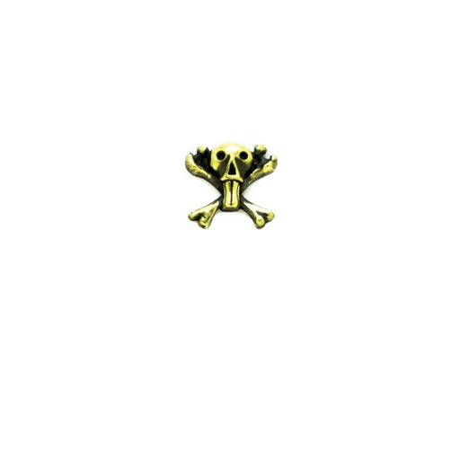 funny skull S:ゆる〜くってポップで可愛目なクロスボーンスカル。ライダースなどの辛めファッションのハズシとして付けると良いかもしれません。