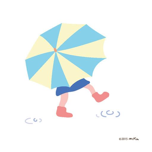 かさをさして歩いている女の子