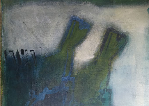 Die Amsel, Acryl auf Leinwand zum Buch gebunden, Buchseite aus Buch 2