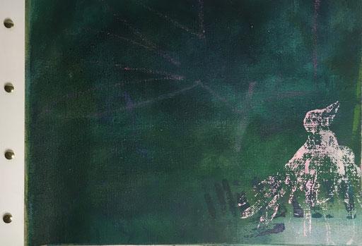 Die Amsel, Acryl auf Leinwand zum Buch gebunden, Buchseite aus Buch 1