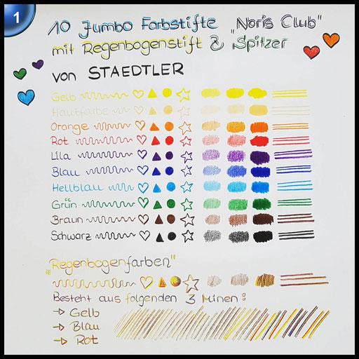 Staedtler 61 SET8 - Noris Club jumbo Farbstifte Bonuspack 10 Stück mit Regenbogenstift und Spitzer Gratis