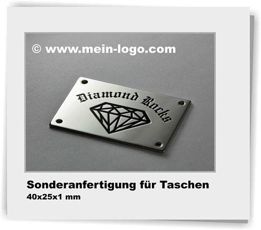 Logoplättchen für Taschen