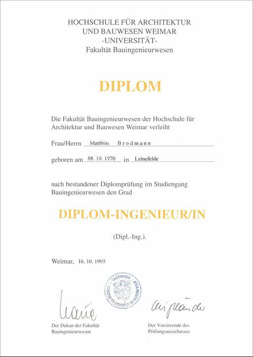 Urkunde zum Diplom-Ingenieur