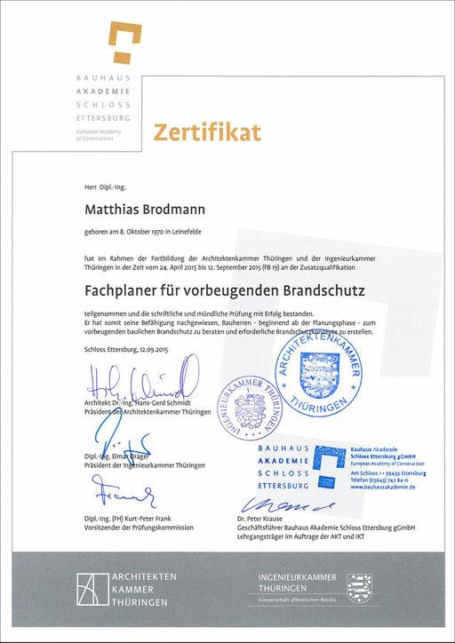 Urkunde zum Brandschutz