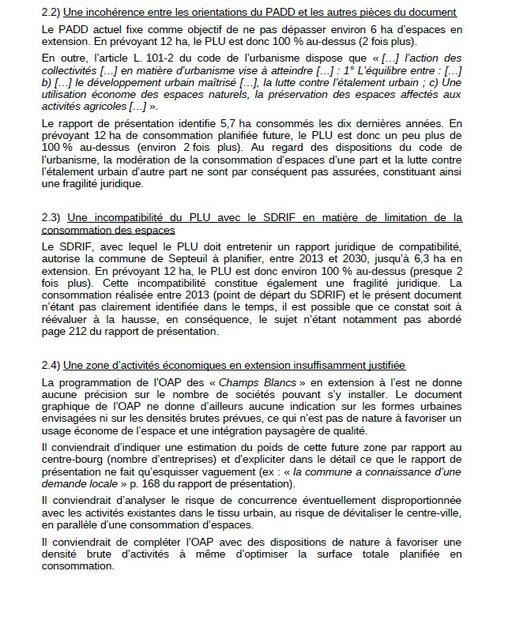 extrait 3 Avis de  la Préfecture : Synthése des avis des services de l'ETAT