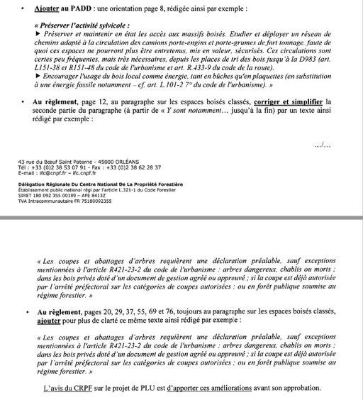 EXtrait Avis CNPF:Centre régional de la propriété forestière d'Ile-de-France et du Centre