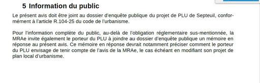 Extrait 4 Avis de la MRAE :Missions régionales d'autorité environnementale