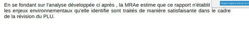 Extrait 2 Avis de la MRAE :Missions régionales d'autorité environnementale