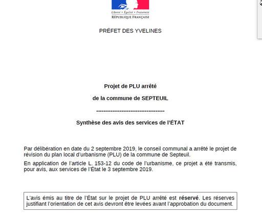 extrait 1 Avis de  la Préfecture : Synthése des avis des services de l'ETAT