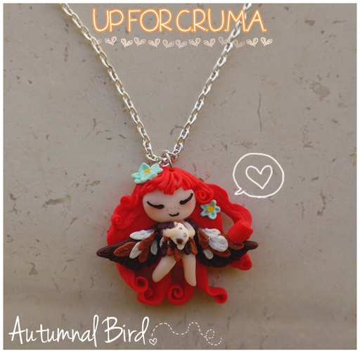 Uccellino autunnale che protegge il suo ovetto, collana donata per l'UP FOR C.R.U.M.A. , non essendo stata aggiudicata da nessuno è tornata disponibile ;) Alta 3 cm - 17*