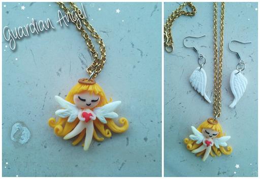 Collana 'Guardian Angel', orecchini in abbinato nella sezione 'Orecchini'; il ciondolo è alto 3cm e completamente fatto a mano. 14*
