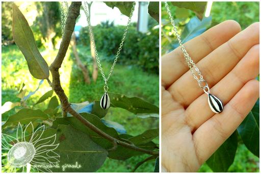Delicata collana con semino di girasole, ciondolo alto circa 1 cm - 4*