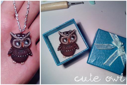 Cute Owl, ciondolo in fimo alto circa 3 cm! Richiesto su commissione, è stato riprodotto a partire dalla foto di un tatuaggio! 18*