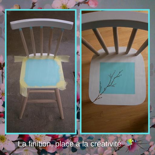 """Chaise d'enfant, relooking de meuble, renovation de mobilier, ponçage, peinture, personnalisé, cire,bois,blanc,bleu,""""avec presque rien"""",style floral,fleurs de cerisier, sciez, thonon, leman, chablais"""
