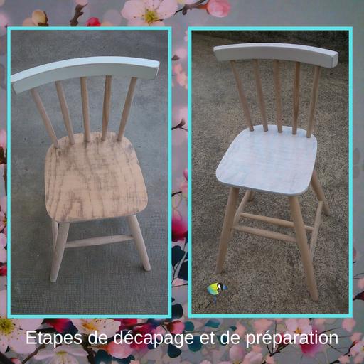 """Chaise d'enfant, relooking de meuble, renovation de mobilier, ponçage, peinture, personnalisé, cire,bois,blanc,bleu,""""avec presque rien"""", style floral,fleurs de cerisier, sciez, thonon, leman, chablais"""