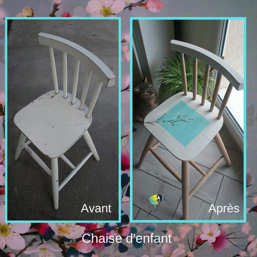 """Chaise d'enfant, relooking de meuble, renovation de mobilier, ponçage, peinture, personnalisé, cire,bois,blanc,bleu,style floral,fleurs de cerisier, sciez, thonon, leman, chablais, """"avec presque rien"""""""