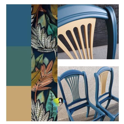 avec presque rien relooking de meuble ensemble table et chaises, jeu de couleurs, bleu pétrole, vert épinette, ocre, peinture