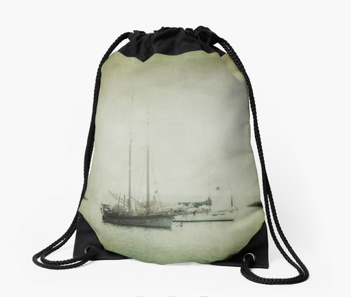 Shop Drawstring Bags, Two Boats by Victoria Herrera