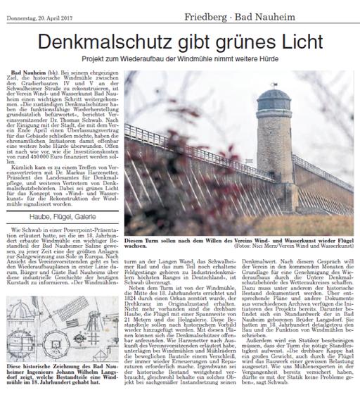 Wetterauer Zeitung, 20. April 2017