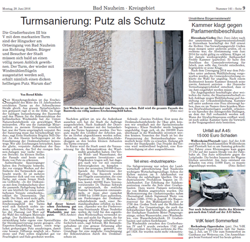 Wetterauer Zeitung, 20. Juni 2016