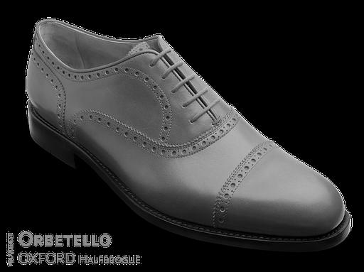 klassischer Maßschuh Modell Straight Tip Oxford- Halbschuh mit glattem Vorderblatt mit Vorderkappe, gelocht mit Lyralochung