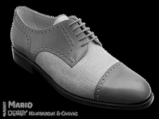 klassischer Maßschuh Modell Straight Tip Derby - Halbschuh mit glattem Vorderblatt mit Vorderkappe, gelocht mit Lyralochung mit Leinen