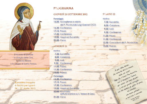 Carmelitani Scalzi Provincia Napoletana 2012 - Giornate di studio