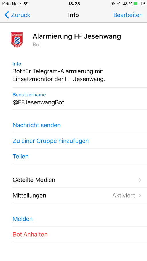 """Offizieller Telegram Bot der FF Jesenwang """"@FFJesenwangBot"""""""
