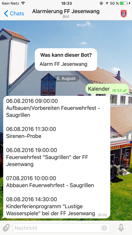 Aktueller Kalender der FF Jesenwang.