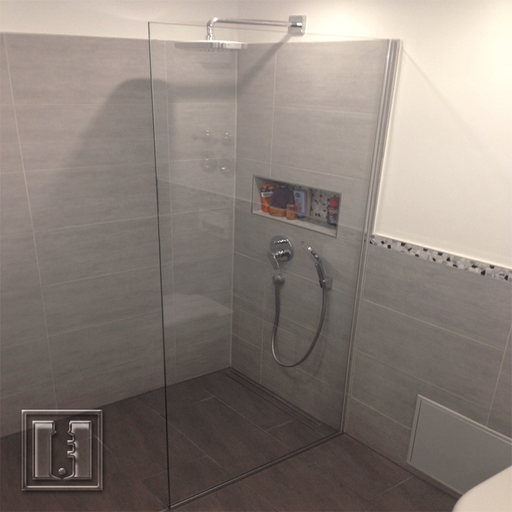 Wake In Dusche in U Profile / Referenz: Privathaushalt München / Glaserei Fischbach
