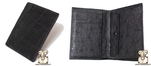Portefeuille en cuir d'elephant noir mat , doublé en cuir d'autruche.