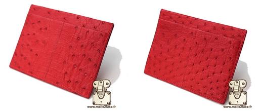 Porte carte autruche 4 cartes rouge couture main