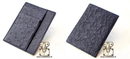 Porte carte de luxe autruche cousu main