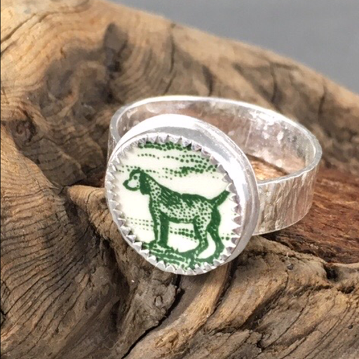 "Doggone this ring! Really. Dog on this ring. Classic green and white transfer ware to keep ""close at hand""."