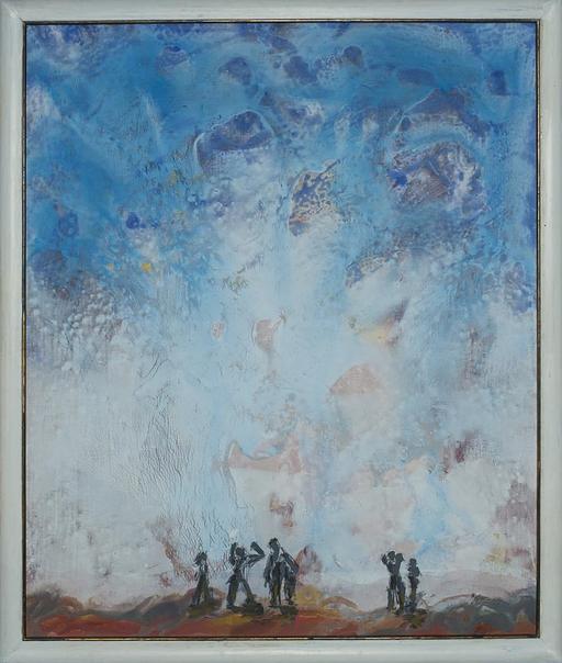 2012, Fallblau, 60x50, Acryl-Holz